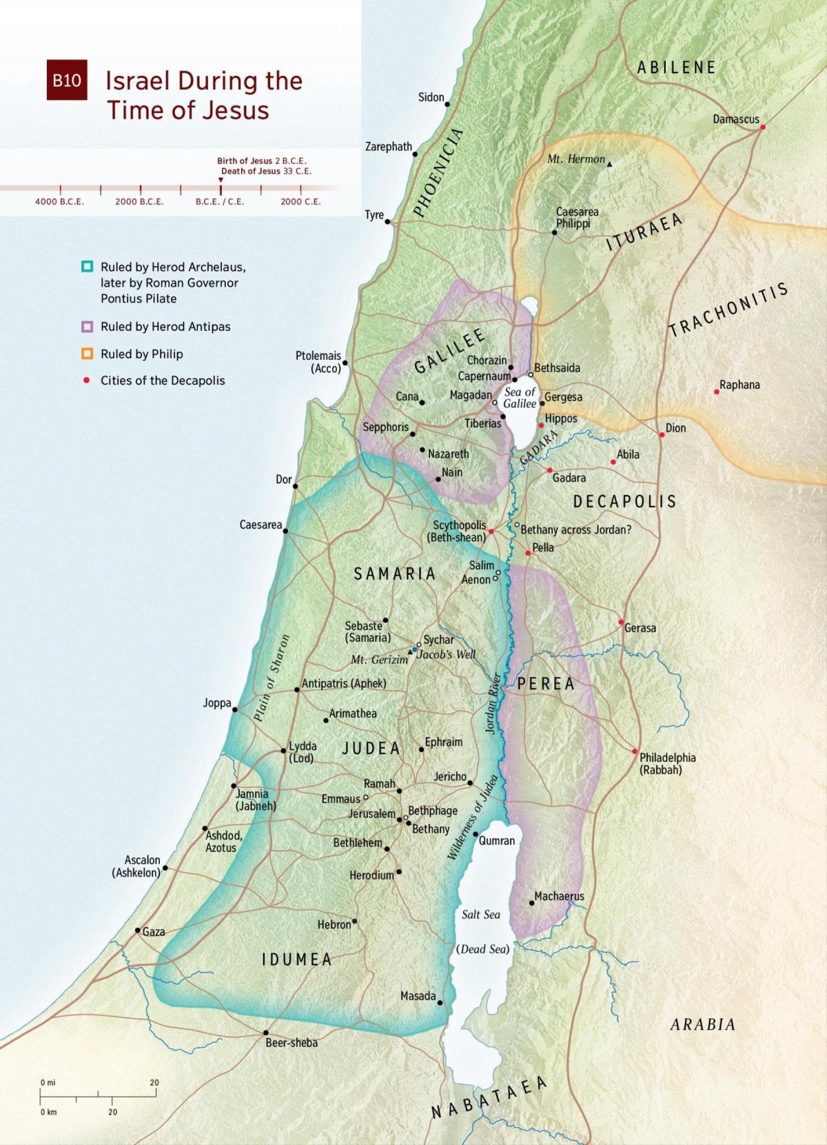 Carte de la terre Sainte au temps de Jésus - Carte de la terre ...